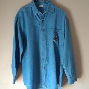 Vintage Mickey Mouse Jean Button Down Shirt